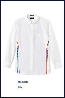 Men's Tall Traditional Fit Solid Supima Oxford Hyde Park Dress Shirt, alternative image