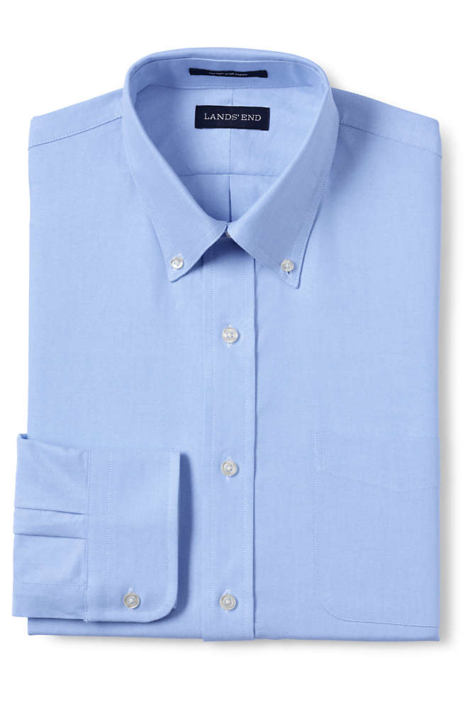 Men's Tailored Fit Solid Supima Oxford Hyde Park Dress Shirt, Front