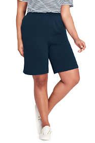 Women's Plus Size Petite Sport Knit Elastic Waist Pull On Shorts