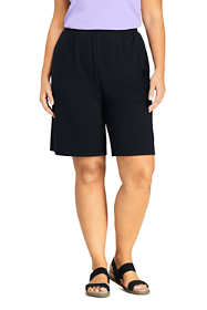 Women's Plus Size Petite Sport Knit High Rise Elastic Waist Pull On Shorts
