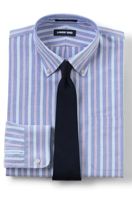 Men's Tailored Fit Pattern Supima Oxford Hyde Park Dress Shirt
