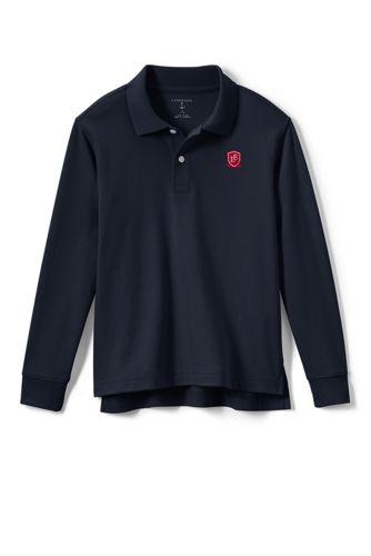 School Uniform Logo Kids Long Sleeve Interlock Polo From Lands End