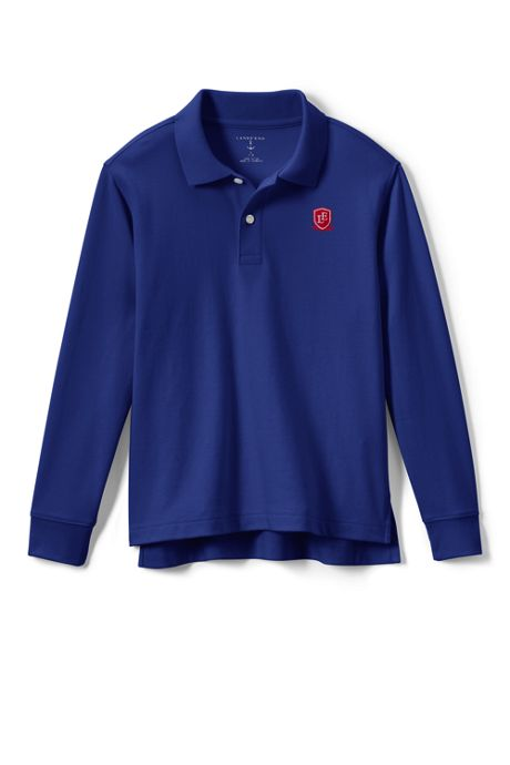 School Uniform Logo Little Kids Long Sleeve Interlock Polo