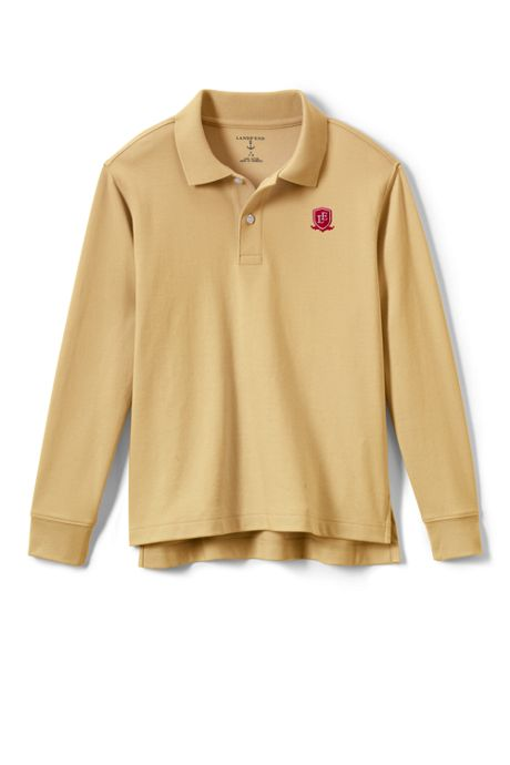 School Uniform Logo Kids Long Sleeve Interlock Polo