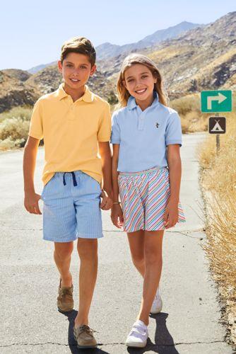 Kids Short Sleeve Mesh Polo Shirt