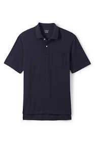 Men's Big Short Sleeve Hemmed Mesh Polo Shirt with Pocket