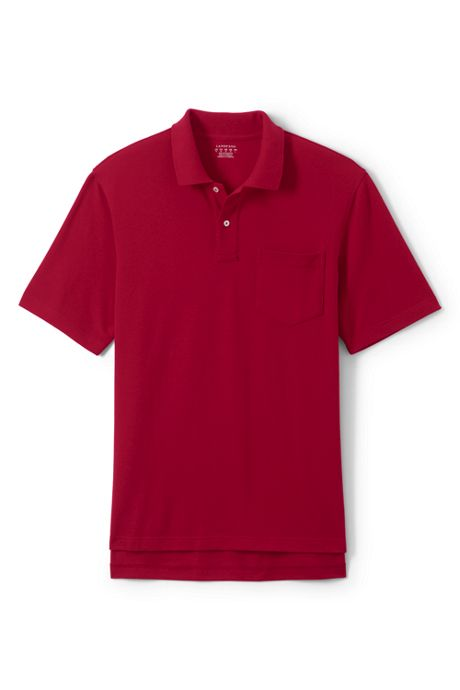 Men's Short Sleeve Hemmed Mesh Polo Shirt with Pocket