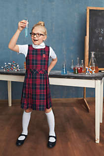 School Uniform Girls Uniform Plaid Jumper   , alternative image