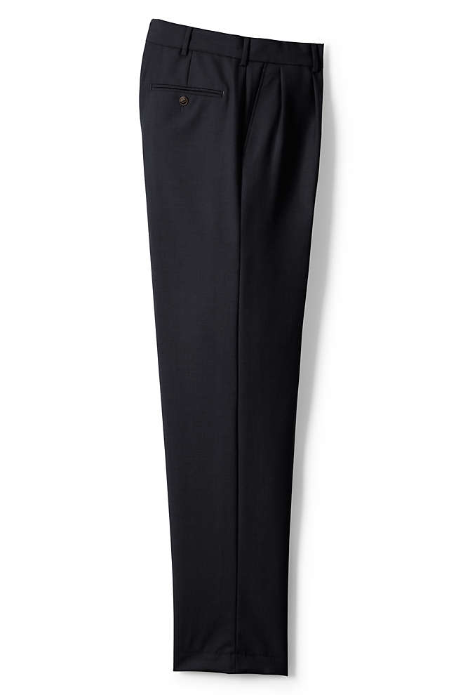 Men's Big and Tall Traditional Fit Pleated Year'rounder Wool Dress Pants, Front