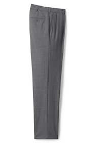 Men's Long Traditional Fit Pleated Year'rounder Wool Dress Pants