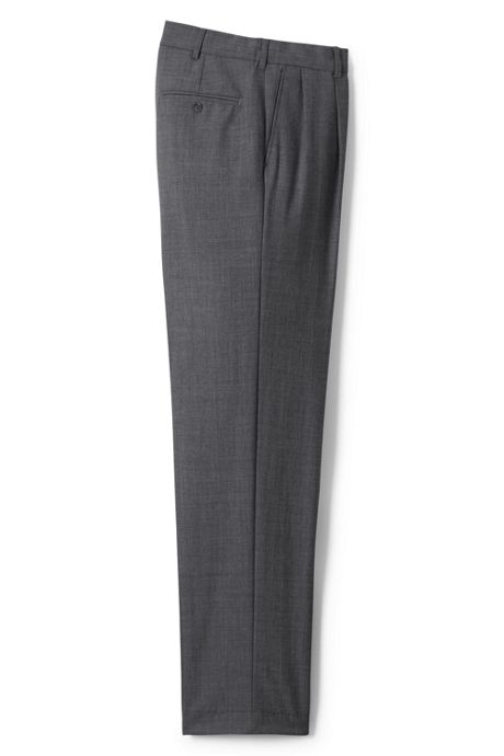 Men's Long Traditional Fit Pleat Wool Year'rounder Dress Trousers