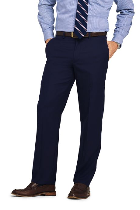 Men's Long Traditional Fit Wool Year'rounder Dress Trousers