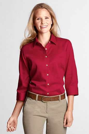 Women's Regular 3/4-sleeve Performance Twill Shirt - Classic Red, L