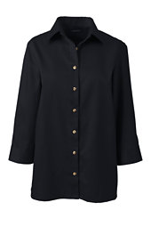 Women's 3/4 Sleeve Performance Twill Shirt-Black