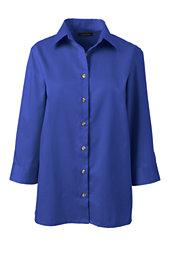 Women's 3/4 Sleeve Performance Twill Shirt-Dark Cobalt Blue