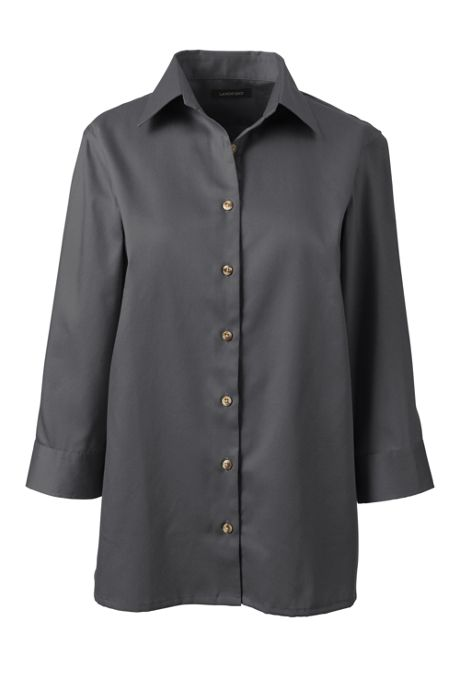 School Uniform Women's Petite 3/4 Sleeve Performance Twill Shirt