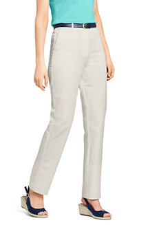 Womens High Waisted Cropped Trousers with Back Elastic - 14/16 Lands End MiBpyu4DZ