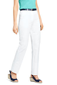 Womens Regular Linen Trousers - 10 - WHITE Lands End RO5enLF
