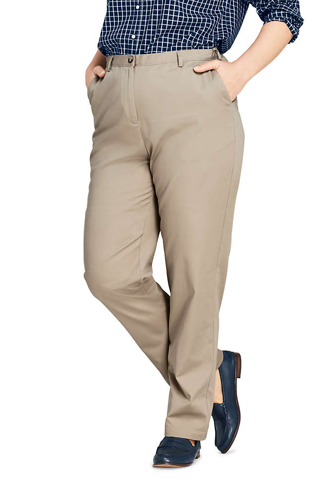 Women's Plus Size Petite 7 Day Elastic Back Comfort Waist Pants, Front