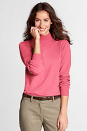 Women's Long Sleeve Relaxed Cotton Mock Turtleneck