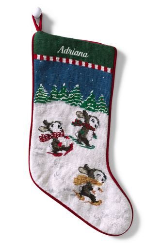 Needlepoint Christmas Stocking, Personalised with a Monogram | Lands' End