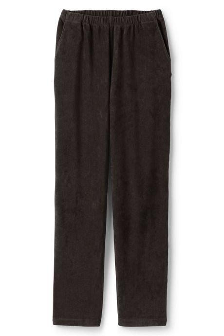 Women's Plus Size Petite Sport Knit Corduroy Elastic Waist Pants High Rise