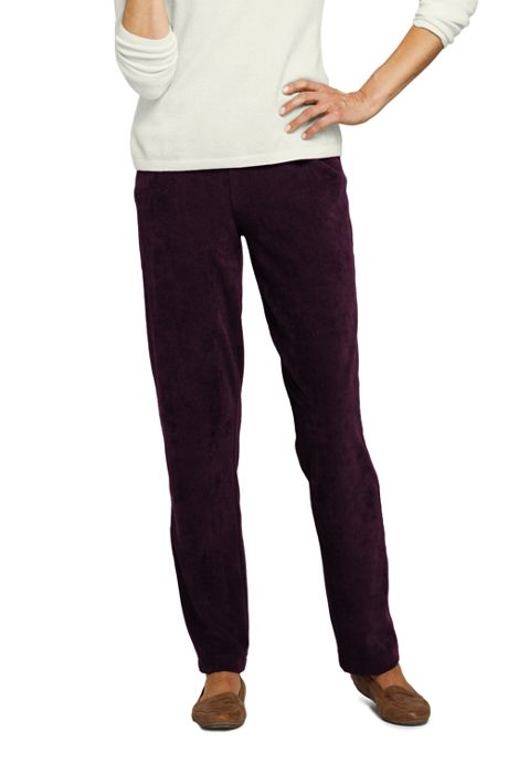 Women's Tall Sport Knit Corduroy Elastic Waist Pants High Rise