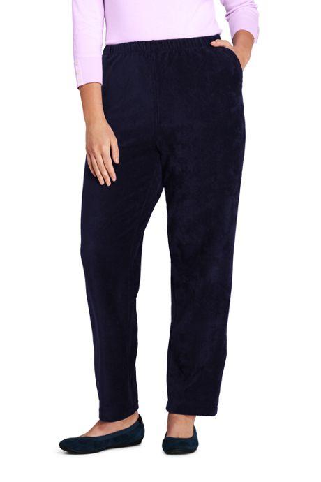 Women's Plus Size Sport Knit Corduroy Elastic Waist Pants High Rise