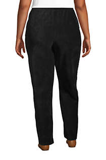 Women's Plus Size Petite Sport Knit High Rise Corduroy Elastic Waist Pants , Back