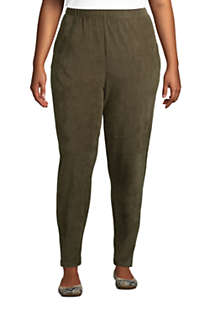 Women's Plus Size Sport Knit High Rise Corduroy Elastic Waist Pants , Front