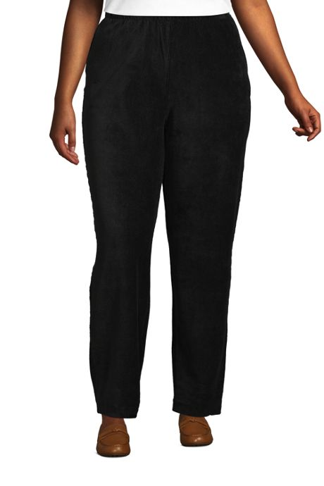 Women's Plus Size Petite Sport Knit High Rise Corduroy Elastic Waist Pants