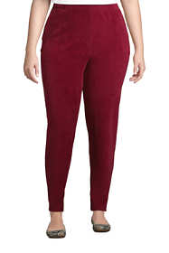 Women's Plus Size Sport Knit High Rise Corduroy Elastic Waist Pants