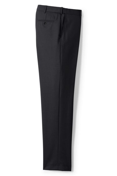 Men's Plain Front Comfort Waist Year'rounder Wool Dress Pants