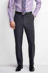 Men's Plain Front Washable Wool Suit Trousers