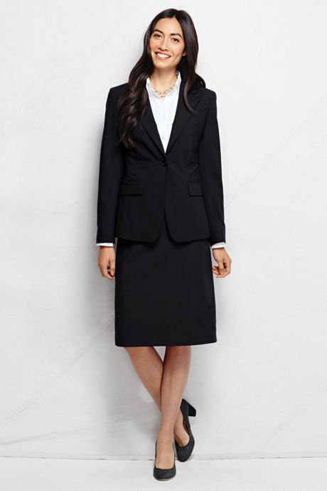 Women's Petite Washable Wool One Button Blazer