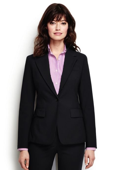 Women's Plus Size Washable Wool One Button Blazer