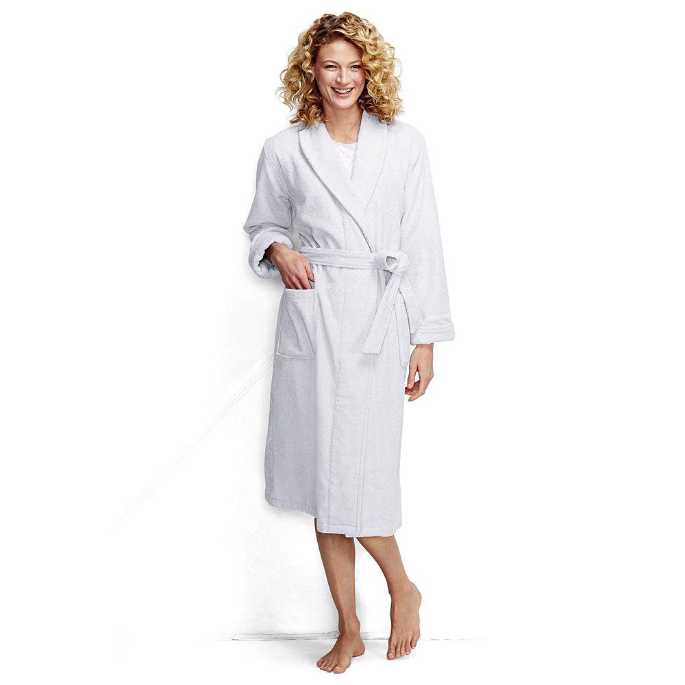 Lands' End Women's Petite Turkish Terry Calf Length Robe
