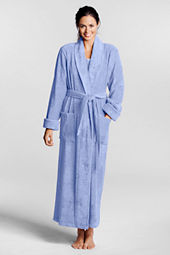 Women's Petite Solid Cotton Terry Full Length Robe