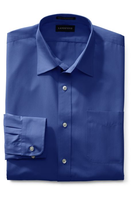 Men's Big Long Sleeve Straight Collar Broadcloth Dress Shirt