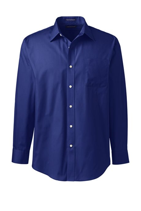 Men's Long Sleeve Straight Collar Solid Broadcloth Shirt