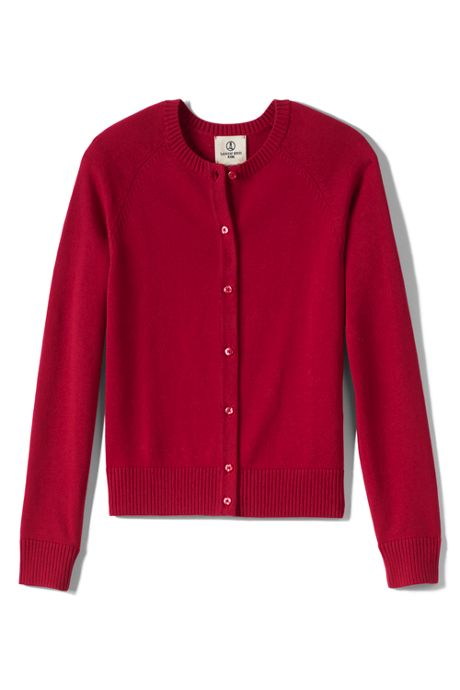 Girls Fine Gauge Cardigan Sweater