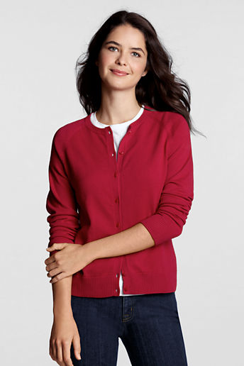 Women's Regular Fine Gauge Cotton Cardigan Sweater - Red, S