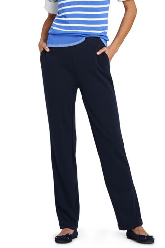 Womens Petite Everyday Ponte High Waisted Trousers - 10 12 - BLUE Lands End