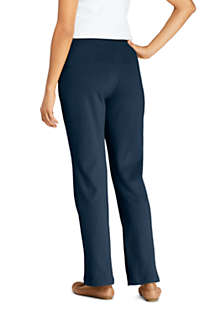 Women's Petite Sport Knit High Rise Elastic Waist Pull On Pants, Back