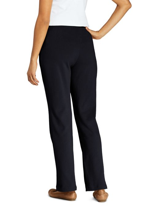 Women's Petite Sport Knit High Rise Elastic Waist Pull On Pants