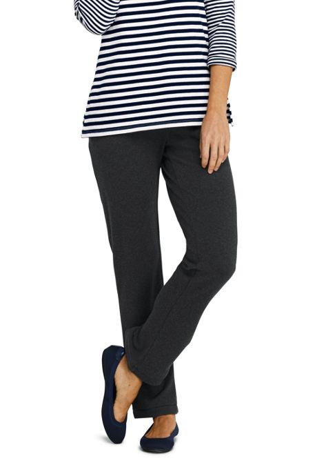 Women's Petite Sport Knit  Elastic Waist Pants High Rise