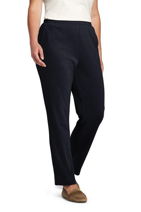 Women's Plus Size Petite Sport Knit  Elastic Waist Pants High Rise