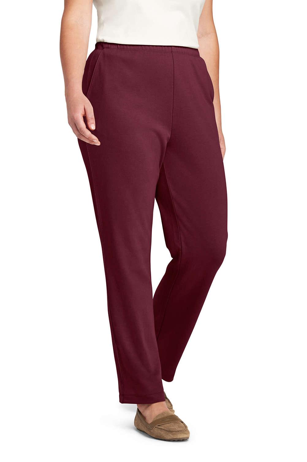 Women\'s Plus Size Sport Knit High Rise Elastic Waist Pull On Pants ...