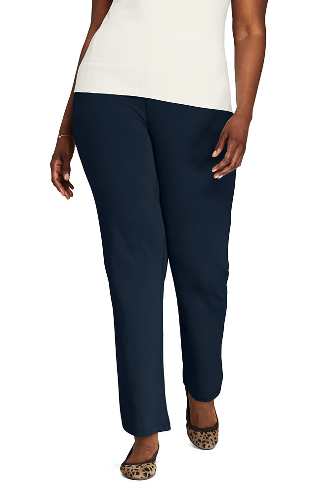 Women's Plus Size Sport Knit High Rise Elastic Waist Pull On Pants - Lands' End