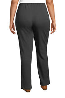 Women's Plus Size Sport Knit High Rise Elastic Waist Pull On Pants, Back